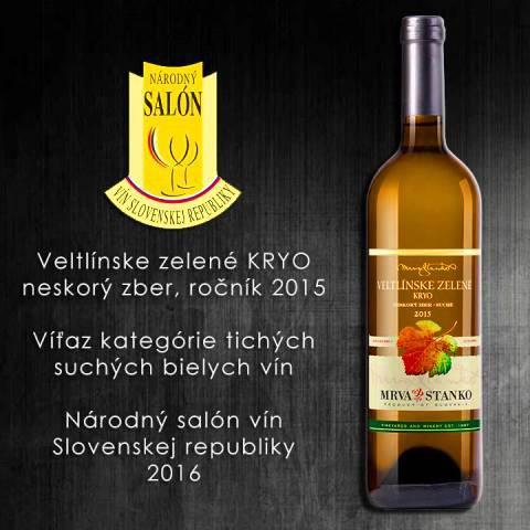 Víťaz Národného salónu vín SR Veltlínske zelené KRYO 2015 Mrva & Stanko