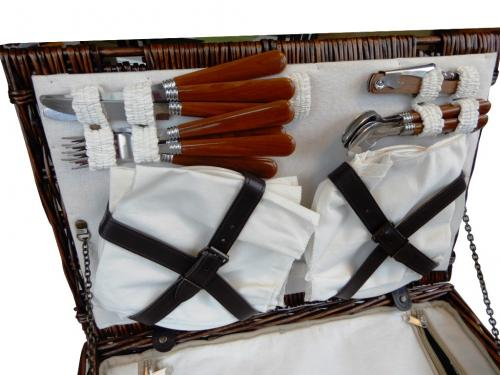 Piknikový kôš prútený - Košík na piknik pre 4 osoby