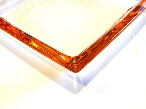 Miska hranatá Corner sklenená Leonardo oranžový pruh 20 x 20 cm