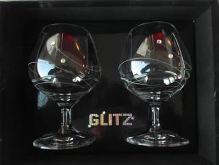 POHÁR Kalich Čaša Cognac Brandy Swarovski Elements Diamante Glassware