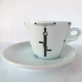 Šálka dANCAP Cyklo Bicykel káva čaj  s tanierikom, porcelánová