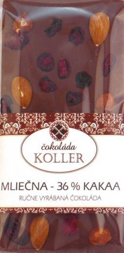 MLIEČNA ČOKOLÁDA 36 % mandle brusnice ručne robená KOLLER 100g