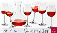 SOMMELIER RONA sada kalichy poháre wineglass karafa caraffe decanter 7ks