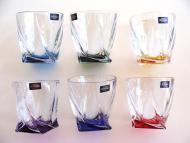 QUADRO Whisky / voda poháre 6 ks set Bohemia Crystalite farebné