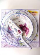 Porcelán dezertné taniere sada 8 ks dekoračný predmet Levander Levanduľa