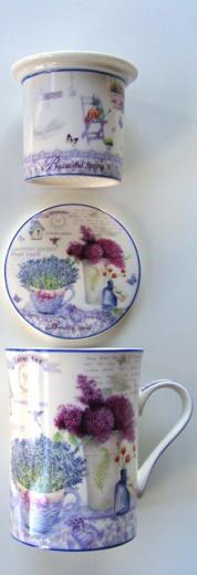 Šálka porcelánová na čaj - kávu s filtrom a vekom
