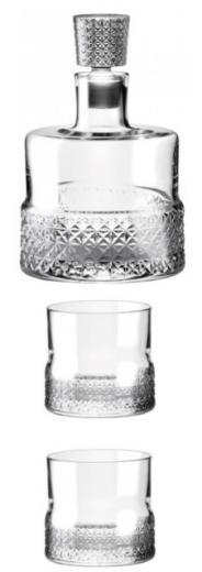 Whisky set sada cut Premium 850 ml fľ. 2 poháre, 1 uzáver Rona SK