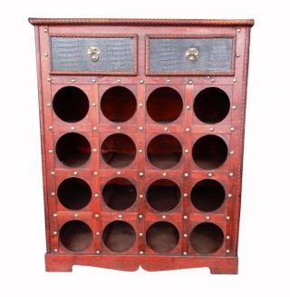 VYPREDANÉ - Stojan na víno a destiláty drevený 16 fliaš so zásuvkami
