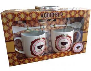 Coffee time - darčekový set šálky s lyžičkami a podšálkami