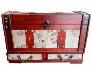 Darčeková krabica kufor box obal truhlica drevená rustikálna