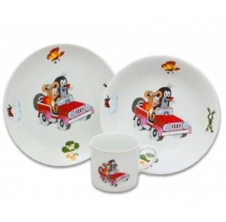Detská súprava porcelán, 3 dielna, KRTKO autíčko