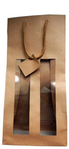 Taška papierová hnedá s uchom na 2 vína, fľaše, nápoje, darčeky