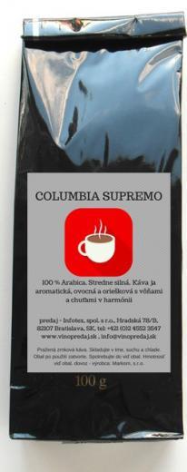 Columbia Supremo pražená káva 100 % Arabica stredne silná 100g