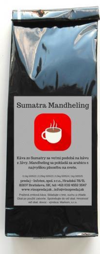 Sumatra Mandheling pražená zrnková káva Arabica 250g