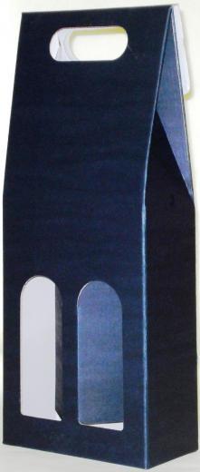 Obal - krabica set na víno 2 fľaše modrý kartón 8564