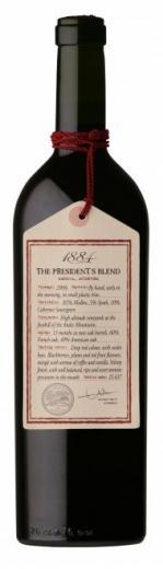 The President´s Blend 1884 Mendoza Escorihuela Gascon wine Argentina obj. 0,75L., Alk. 13.5 % obj.
