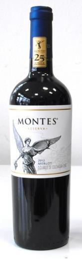 Merlot Montes vino Reserva 2012 Colchagua Chile