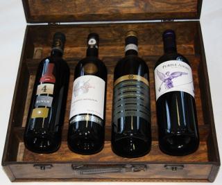 Krabica - Obal - Kazeta - Kufor na 4 fľaše víno drevená hnedá
