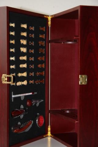 Krabica Obal Kazeta 2 fľaše víno drevený šach someliér sada
