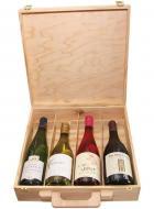 Krabica - Obal - Kazeta na 4 fľaše s vínom drevená 6545, ,kufor