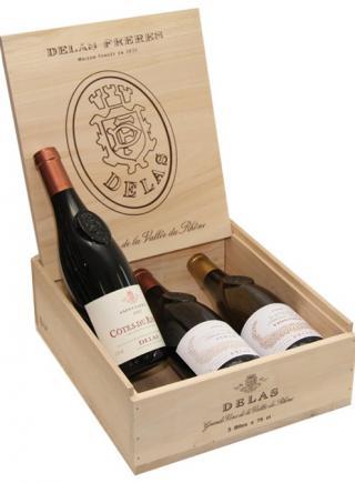 VYPREDANÉ - Drevený obal - krabica - box - set Delas na 3 ks fliaš