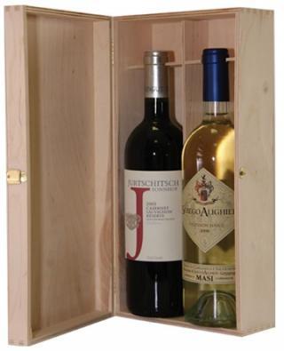 Krabica - Obal - Kazeta na 2 fľaše s vínom drevená 26035