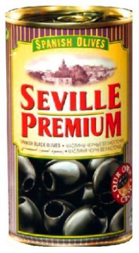 OLIVY čierne bez kôstky SEVILLE PREMIUM Španielsko 350g , 370 ml.