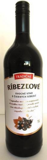 Tradičné ríbezľové ovocné víno z čiernych ríbezlí Topoľčianky, obj. 1 L., Alk. 12 % obj.